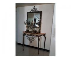 آینه شمعدان و ساعت رومیزی برنز